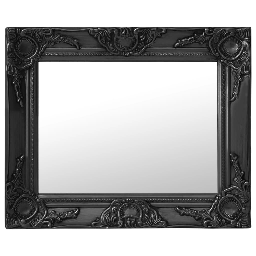 Nástěnné zrcadlo barokní styl 50 x 40 cm černé
