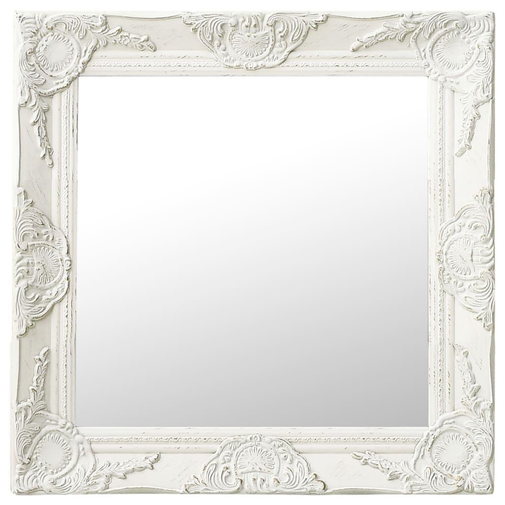 vidaXL Lustro ścienne w stylu barokowym, 50x50 cm, białe