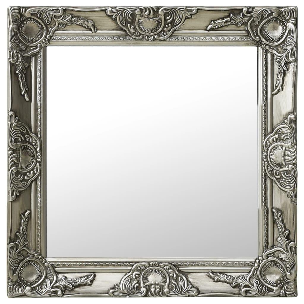 Nástěnné zrcadlo barokní styl 50 x 50 cm stříbrné