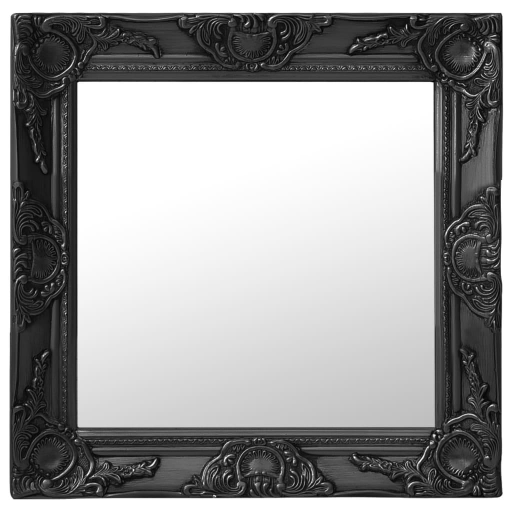 Nástěnné zrcadlo barokní styl 50 x 50 cm černé