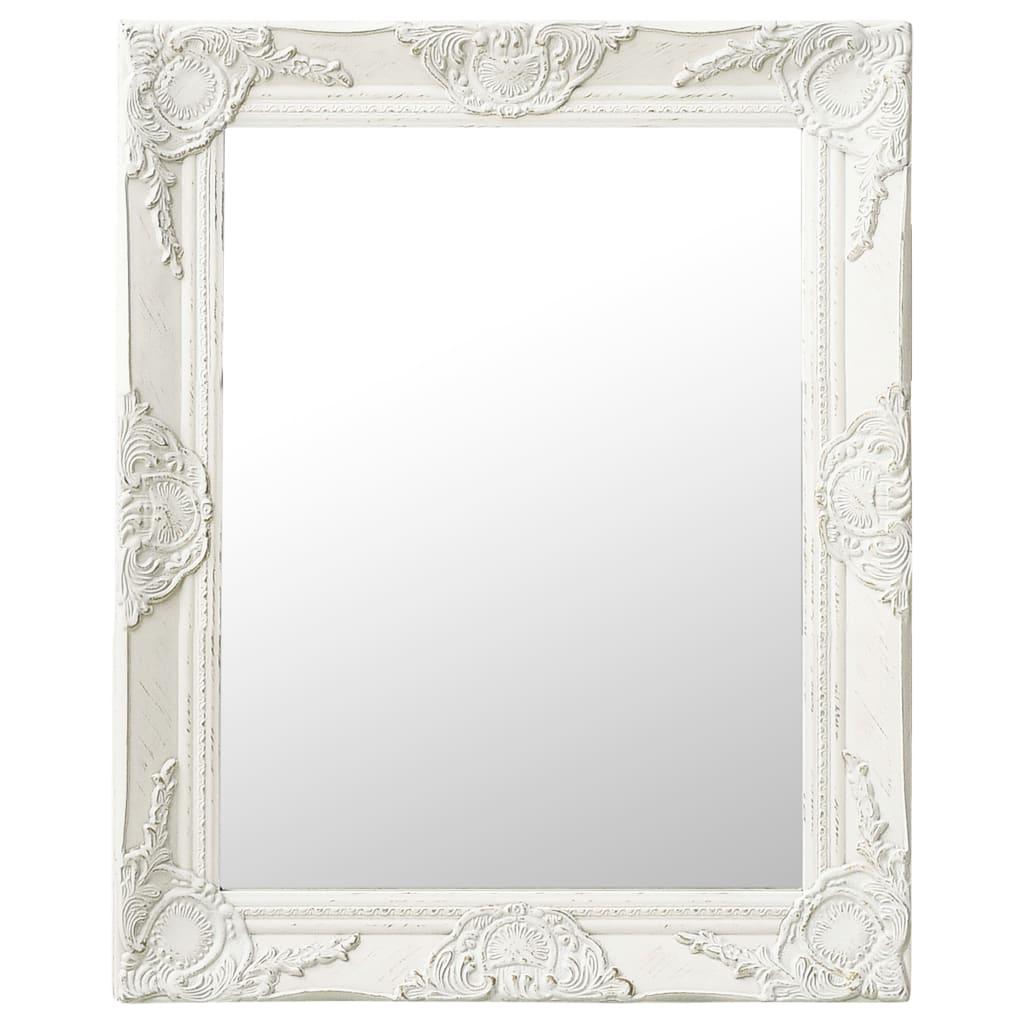 Nástěnné zrcadlo barokní styl 50 x 60 cm bílé