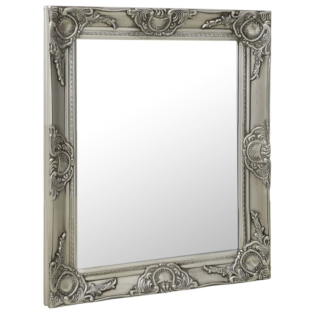 Nástěnné zrcadlo barokní styl 50 x 60 cm stříbrné