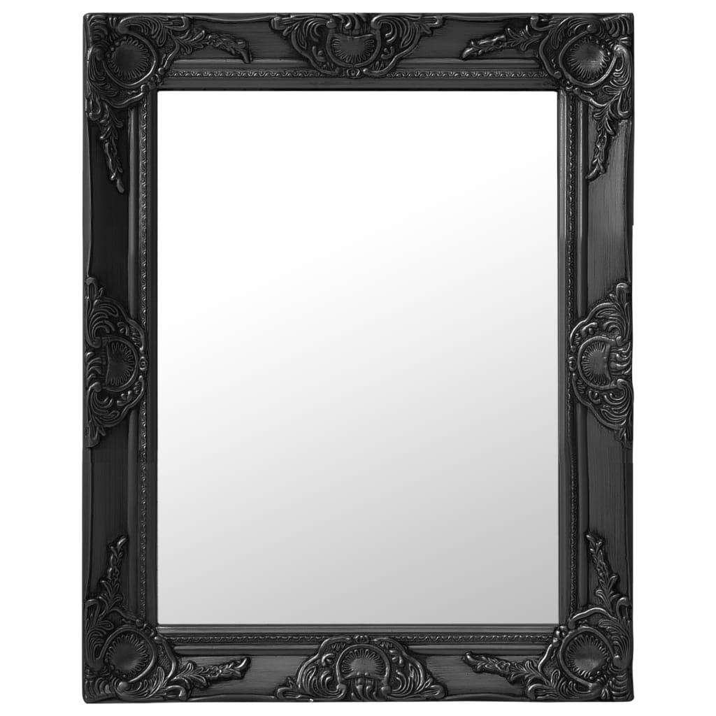 Nástěnné zrcadlo barokní styl 50 x 60 cm černé