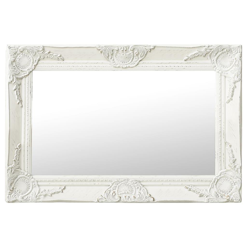 Nástěnné zrcadlo barokní styl 60 x 40 cm bílé