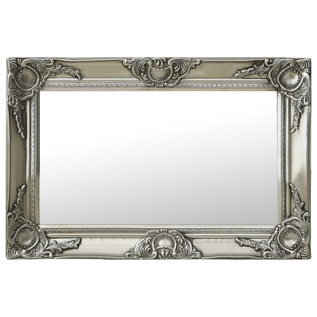Nástěnné zrcadlo barokní styl 60 x 40 cm stříbrné