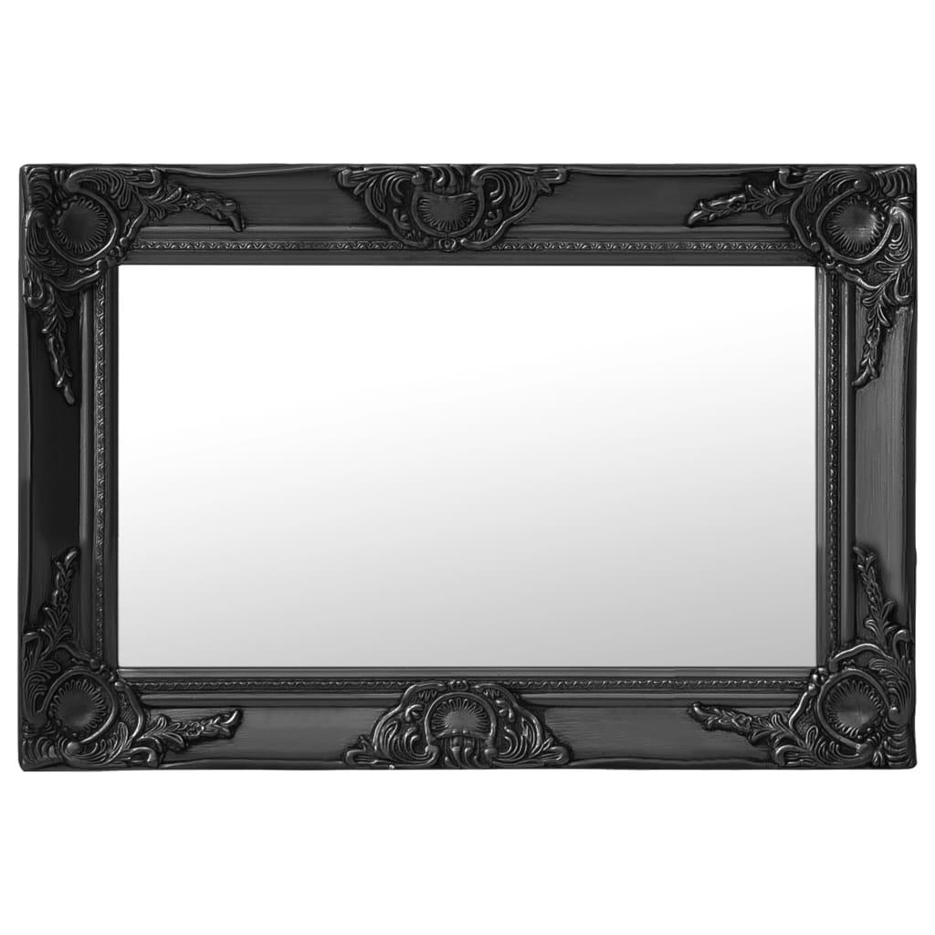 Nástěnné zrcadlo barokní styl 60 x 40 cm černé