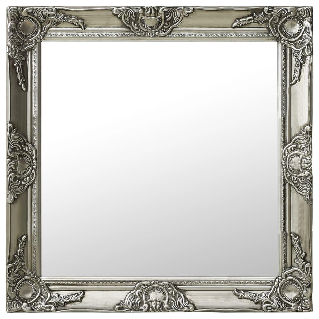 vidaXL Lustro ścienne w stylu barokowym, 60x60 cm, srebrne