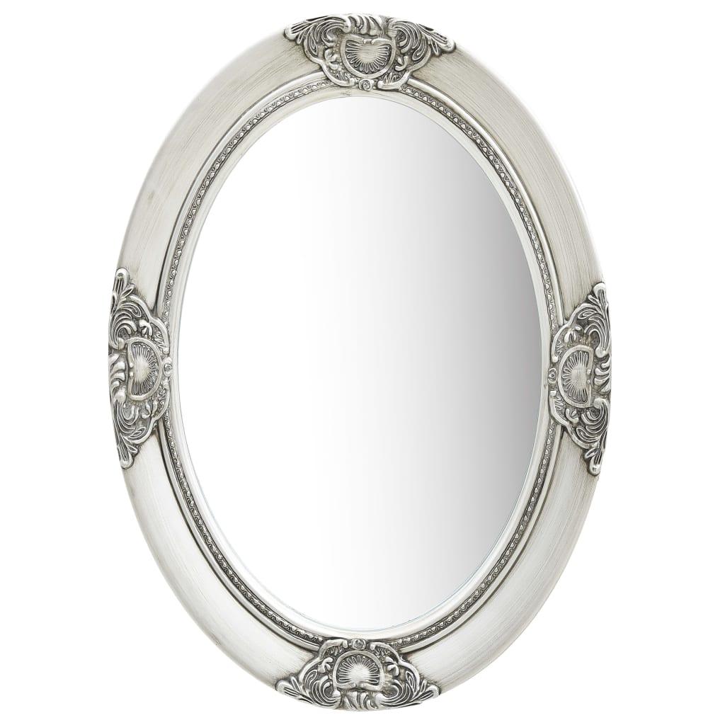 vidaXL Oglindă de perete în stil baroc, argintiu, 50 x 70 cm poza vidaxl.ro