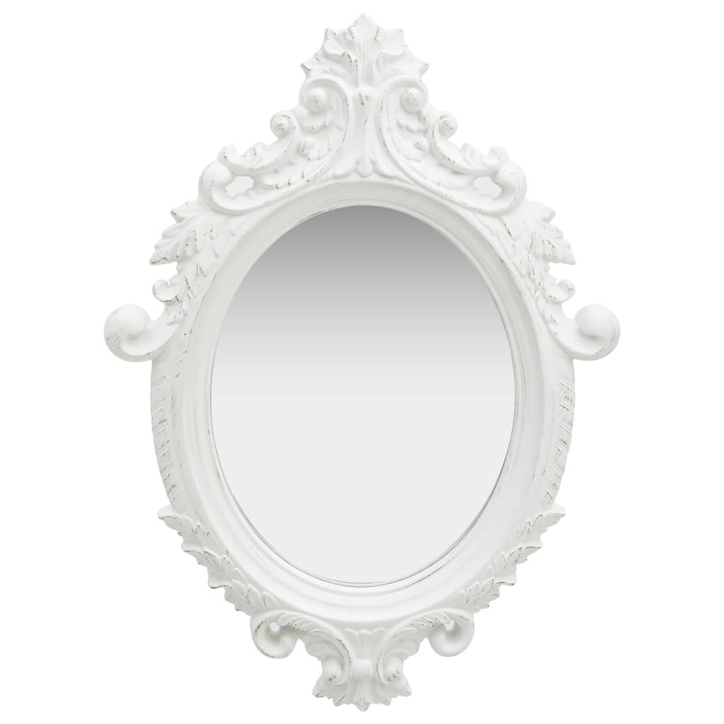 vidaXL Oglindă de perete în stil Castle, alb, 56 x 76 cm imagine vidaxl.ro