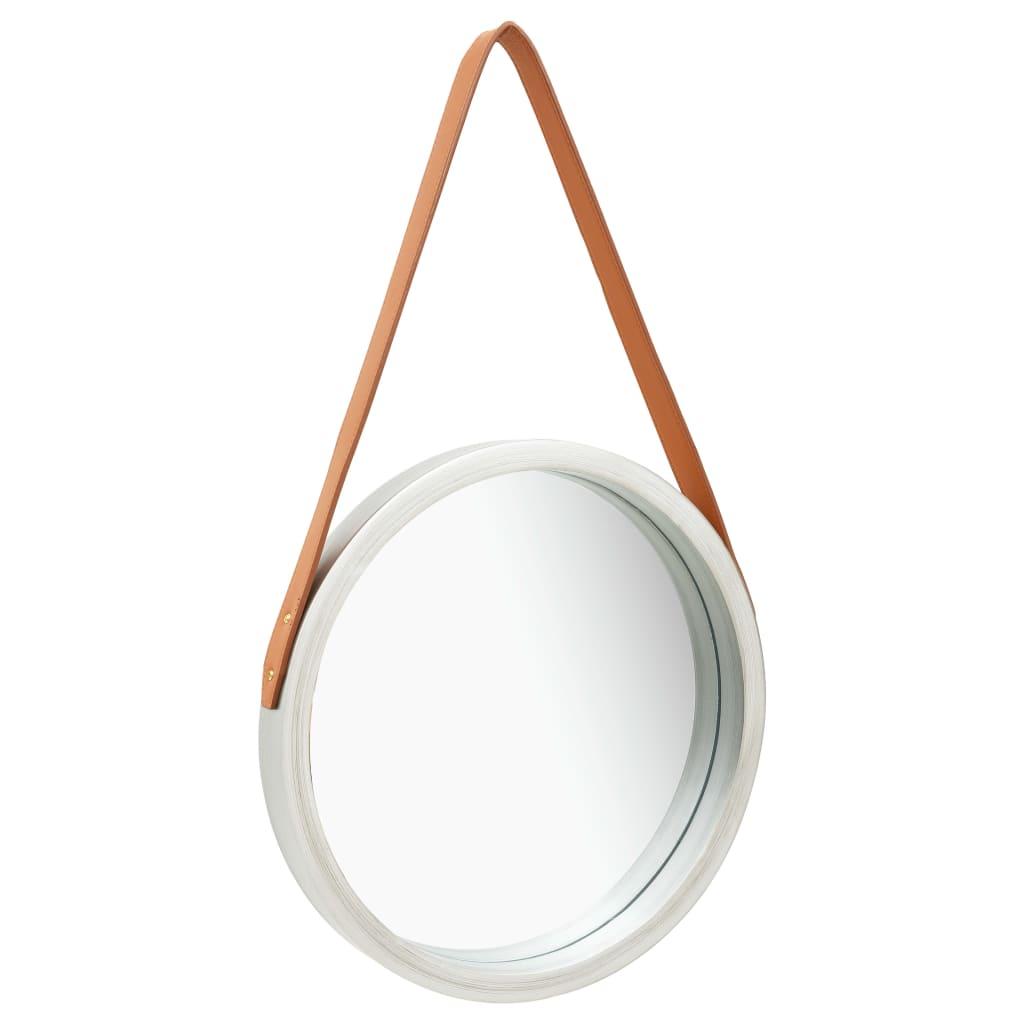 Nástěnné zrcadlo s popruhem 40 cm stříbrné