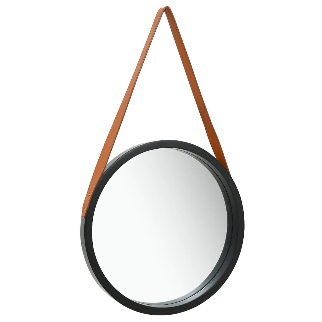 Nástěnné zrcadlo s popruhem 40 cm černé