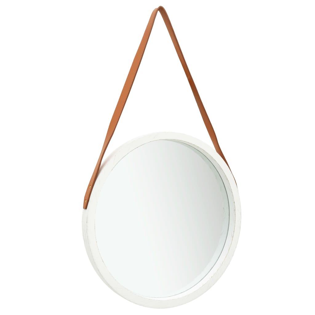Nástěnné zrcadlo s popruhem 50 cm bílé