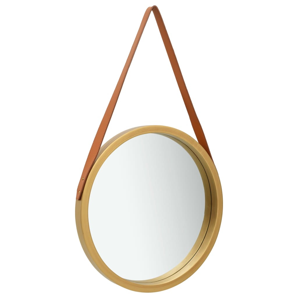 vidaXL Oglindă de perete cu o curea, 50 cm, auriu imagine vidaxl.ro