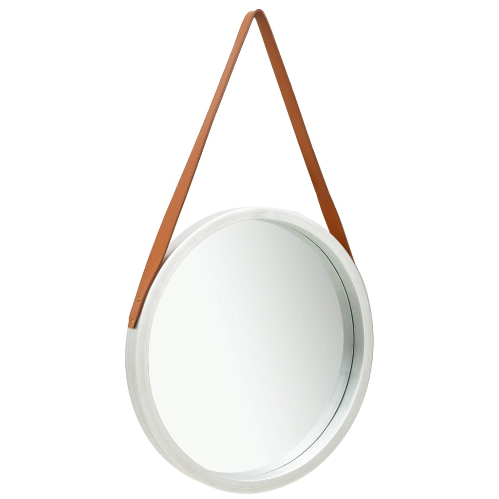 vidaXL Oglindă de perete cu o curea, 50 cm, argintiu imagine vidaxl.ro