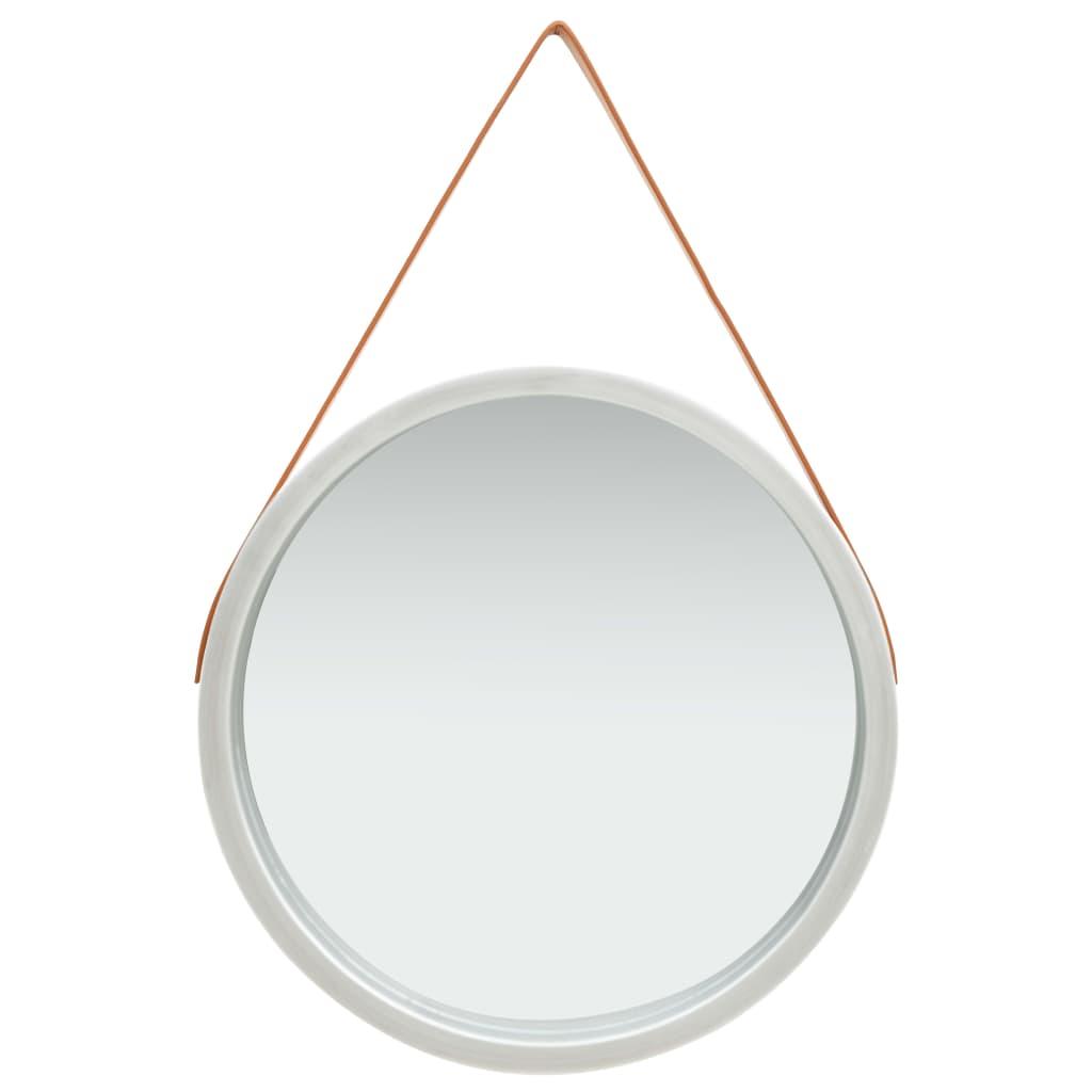 Nástěnné zrcadlo s popruhem 60 cm stříbrné
