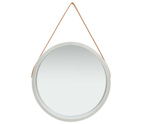 vidaXL Wall Mirror with Strap 60 cm Silver