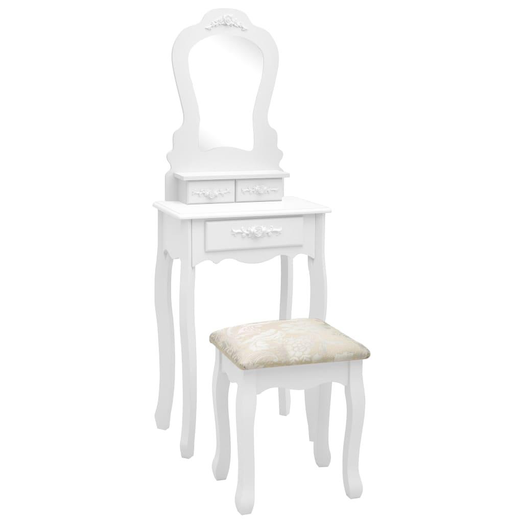vidaXL Set masă de toaletă cu taburet alb 50x59x136 cm lemn paulownia imagine vidaxl.ro
