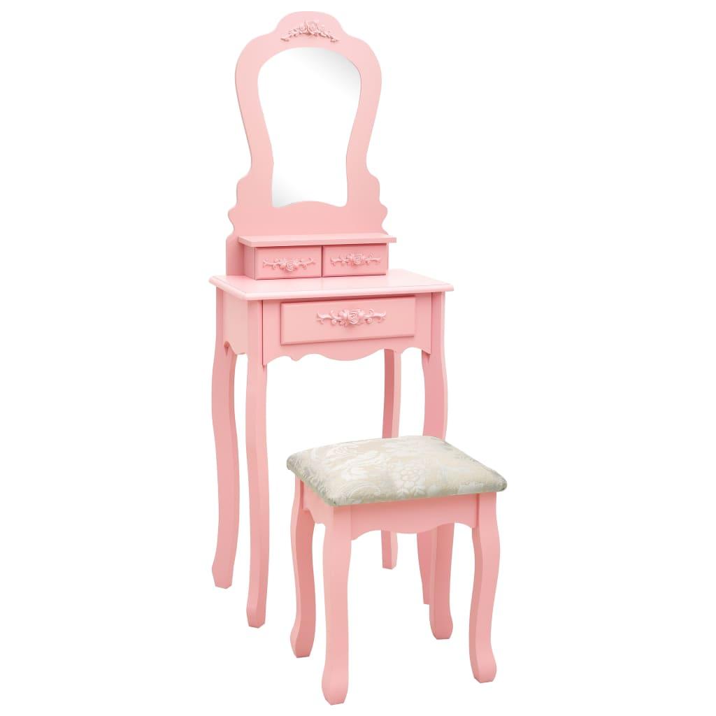 vidaXL Set masă de toaletă cu taburet roz 50x59x136 cm lemn paulownia poza 2021 vidaXL
