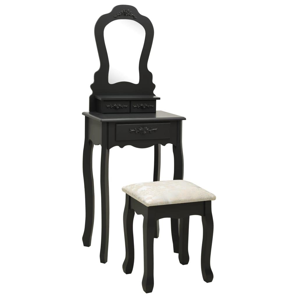 vidaXL Set masă de toaletă cu taburet negru 50x59x136 cm paulownia poza 2021 vidaXL