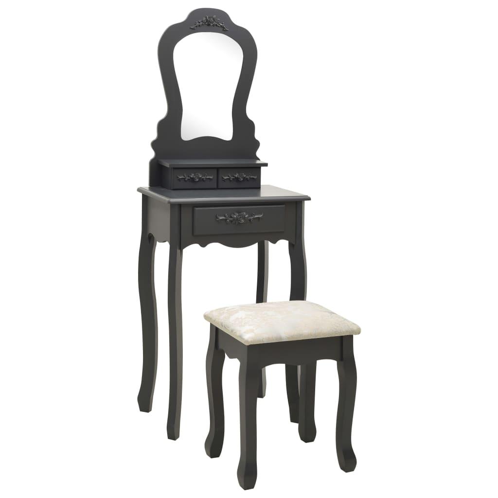 vidaXL Set masă de toaletă cu taburet gri 50x59x136 cm lemn paulownia poza 2021 vidaXL