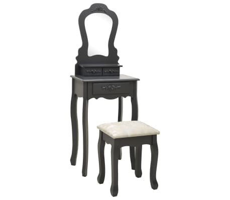 vidaXL Sminkbord med pall grå 50x59x136 cm paulowniaträ