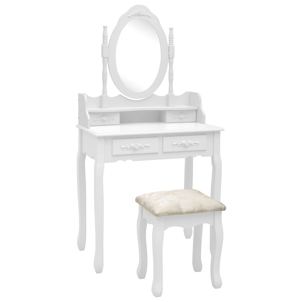 vidaXL Set masă de toaletă cu taburet alb 75x69x140 cm lemn paulownia imagine vidaxl.ro
