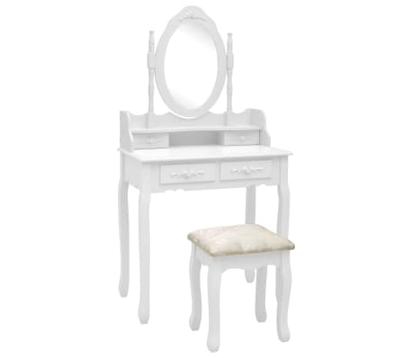 vidaXL Комплект тоалетка с табуретка, бял, 75x69x140 см, пауловния