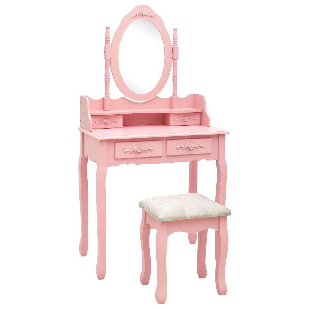 vidaXL Set masă de toaletă cu taburet roz 75x69x140 cm lemn paulownia poza 2021 vidaXL