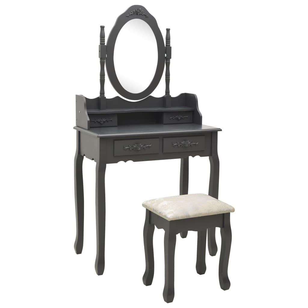 vidaXL Set masă de toaletă cu taburet gri 75x69x140cm lemn paulownia poza 2021 vidaXL
