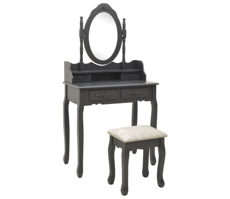 vidaXL Sminkbord med pall grå 75x69x140 cm paulowniaträ