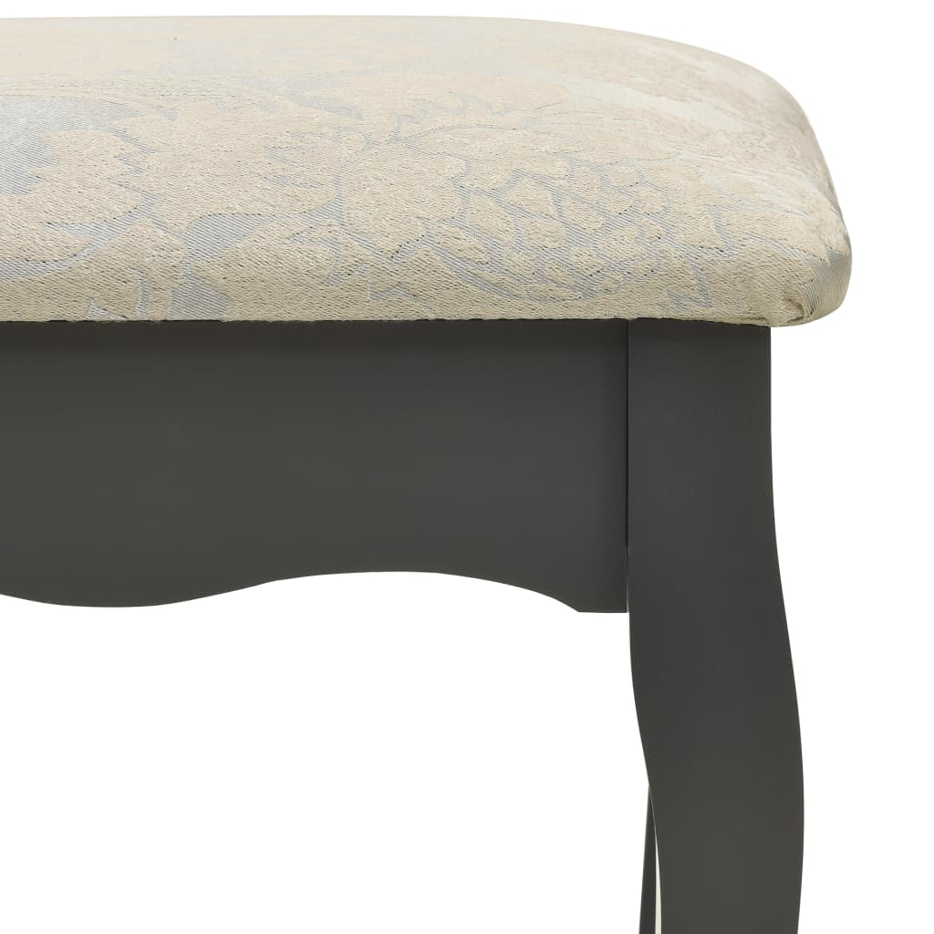 vidaXL Kaptafelset met kruk 75x69x140 cm paulowniahout grijs