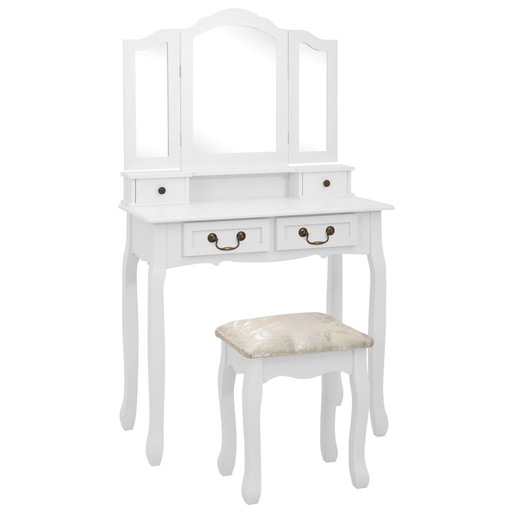 vidaXL Set masă de toaletă cu taburet alb 80x69x141 cm lemn paulownia imagine vidaxl.ro