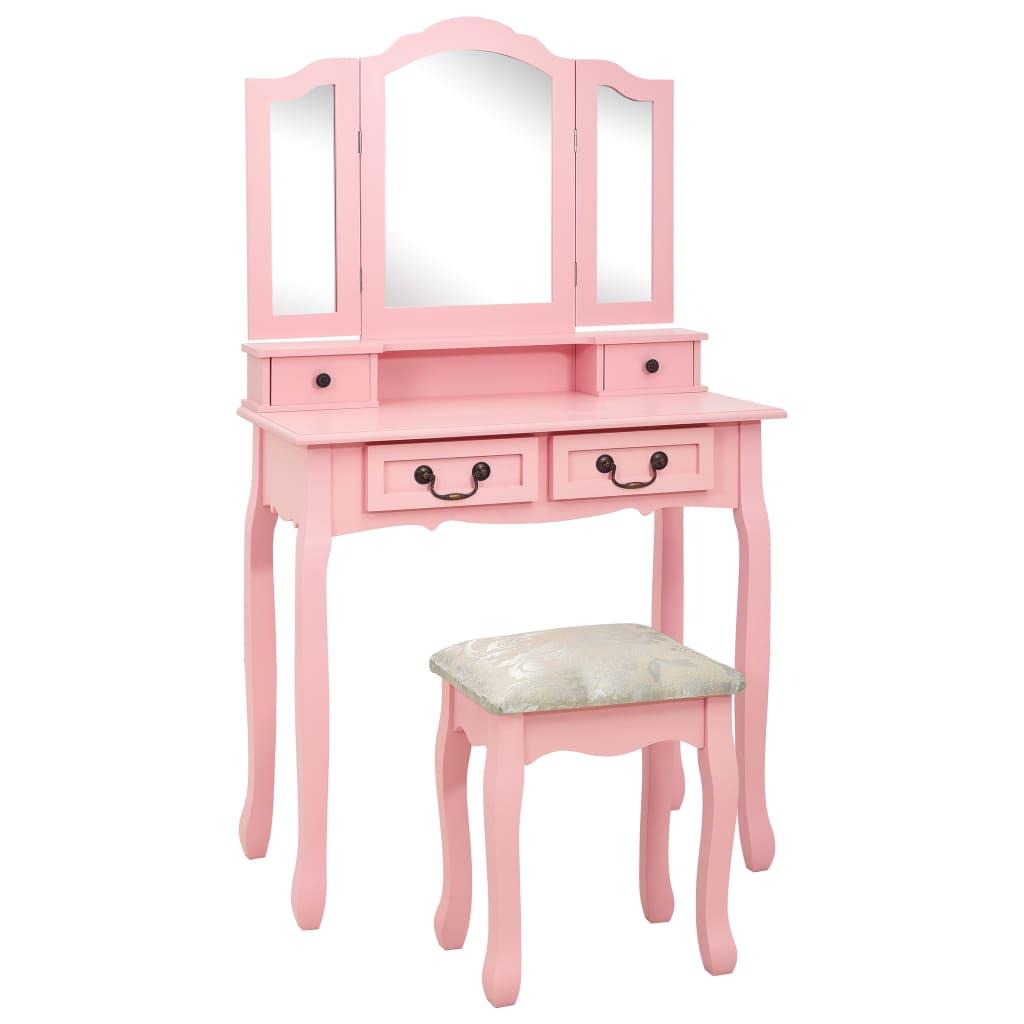 vidaXL Set masă de toaletă cu taburet roz 80x69x141 cm lemn paulownia poza 2021 vidaXL