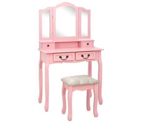 vidaXL Sminkbord med pall rosa 80x69x141 cm paulowniaträ