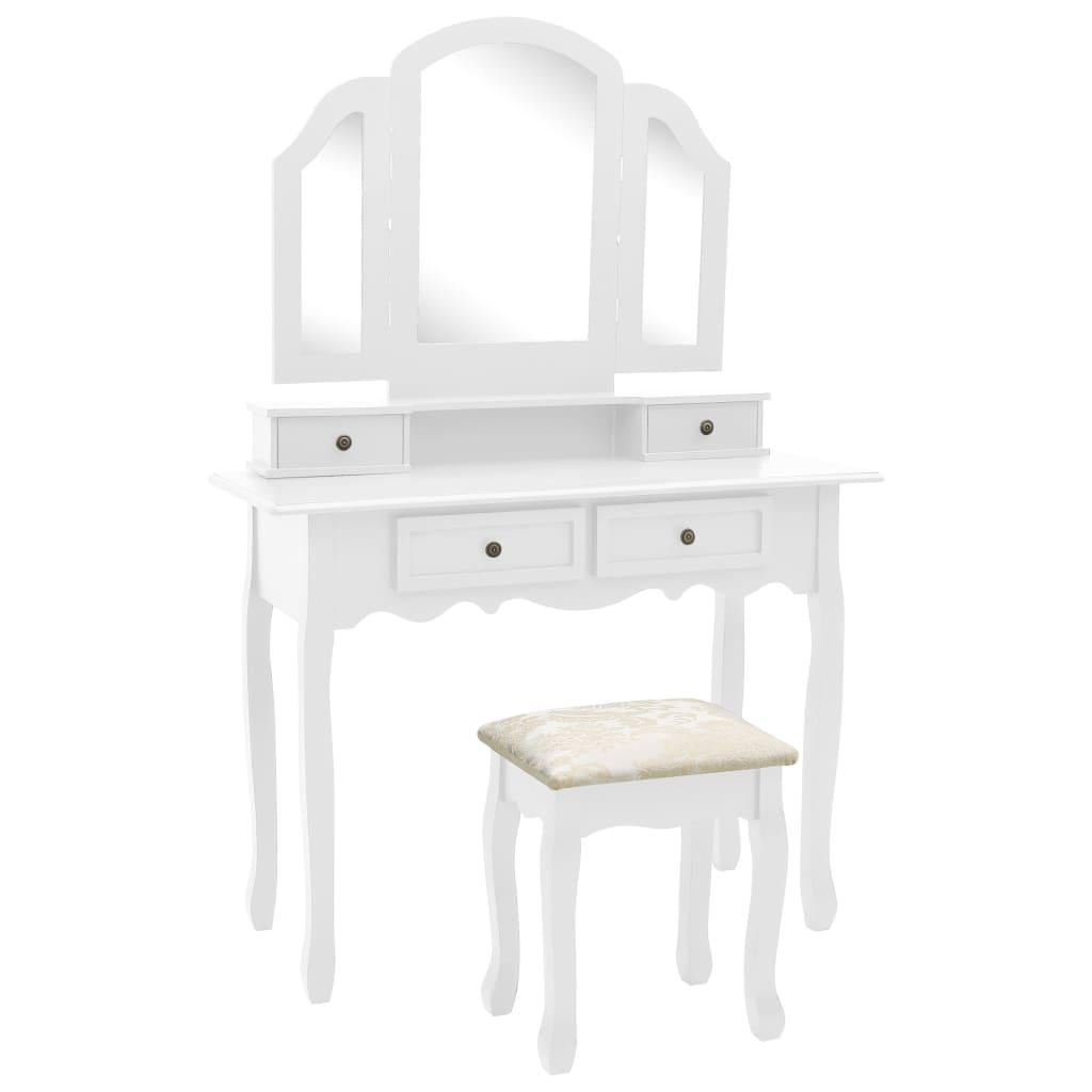 vidaXL Set masă toaletă cu taburet alb 100x40x146 cm lemn paulownia vidaxl.ro