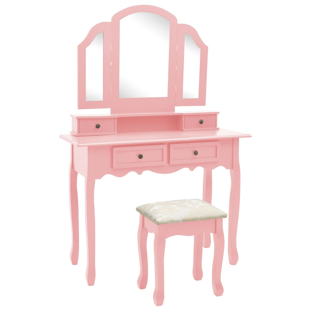 vidaXL Set masă toaletă cu taburet roz 100x40x146 cm lemn paulownia poza 2021 vidaXL