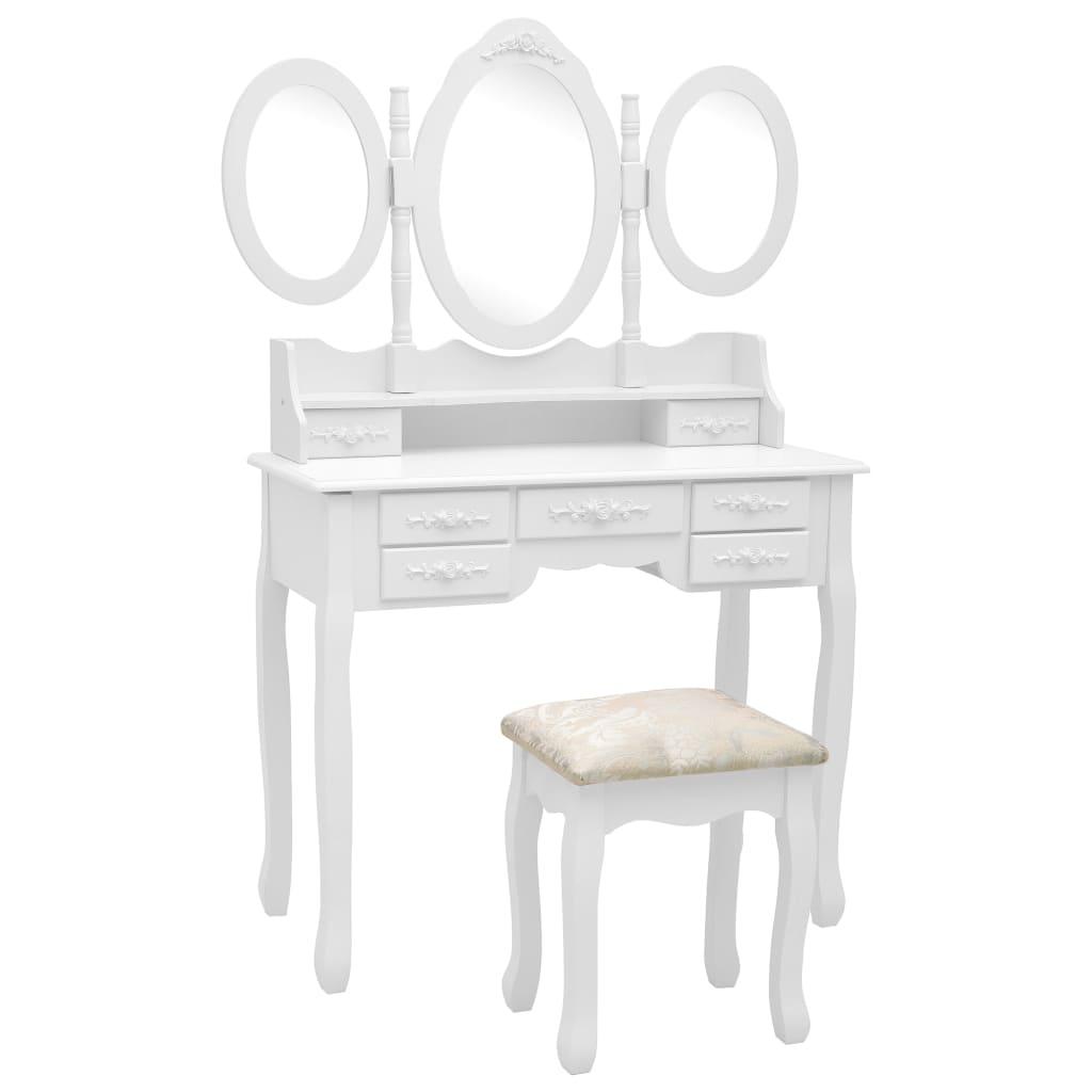 Toaletní stolek se stoličkou a 3dílné skládací zrcadlo bílý