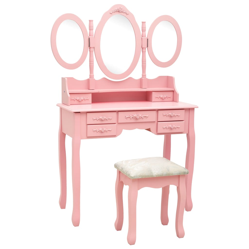 vidaXL Masă de toaletă cu taburet și triptic oglinzi, roz poza 2021 vidaXL