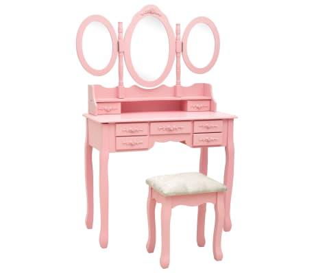 vidaXL Тоалетка с табуретка и тройно сгъваемо огледало, розова