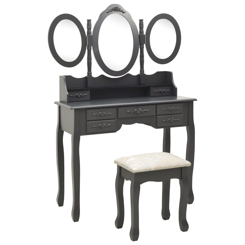 Toaletní stolek se stoličkou a 3dílné skládací zrcadlo šedý