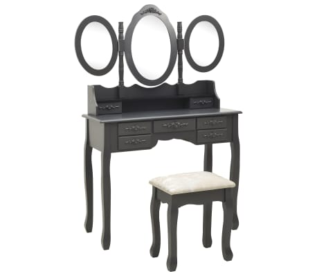 vidaXL Тоалетка с табуретка и тройно сгъваемо огледало, сива