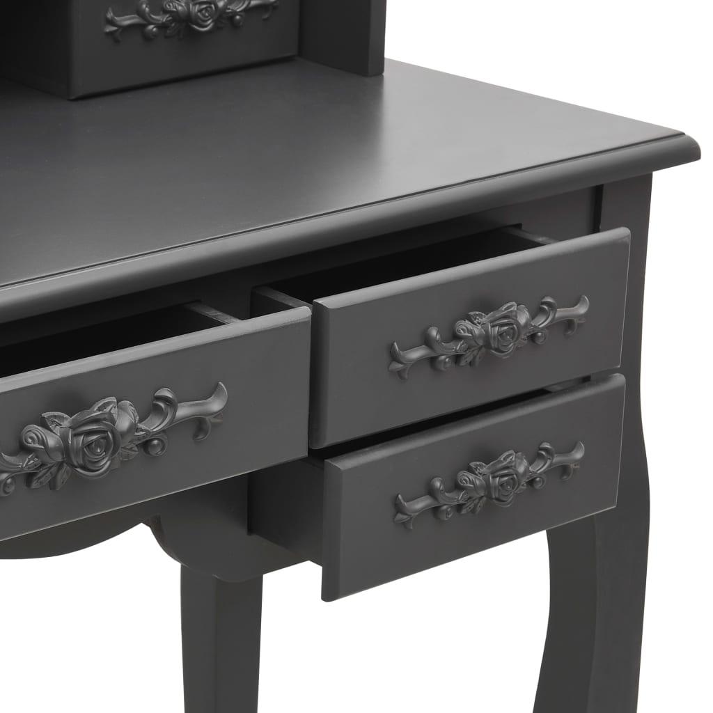 vidaXL Kaptafel met kruk en drievoudige spiegel grijs