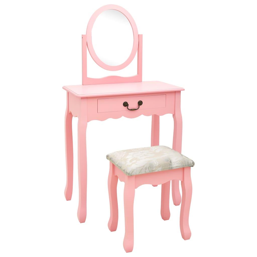 vidaXL Masă toaletă cu taburet, roz, 65x36x128 cm, lemn paulownia, MDF poza 2021 vidaXL
