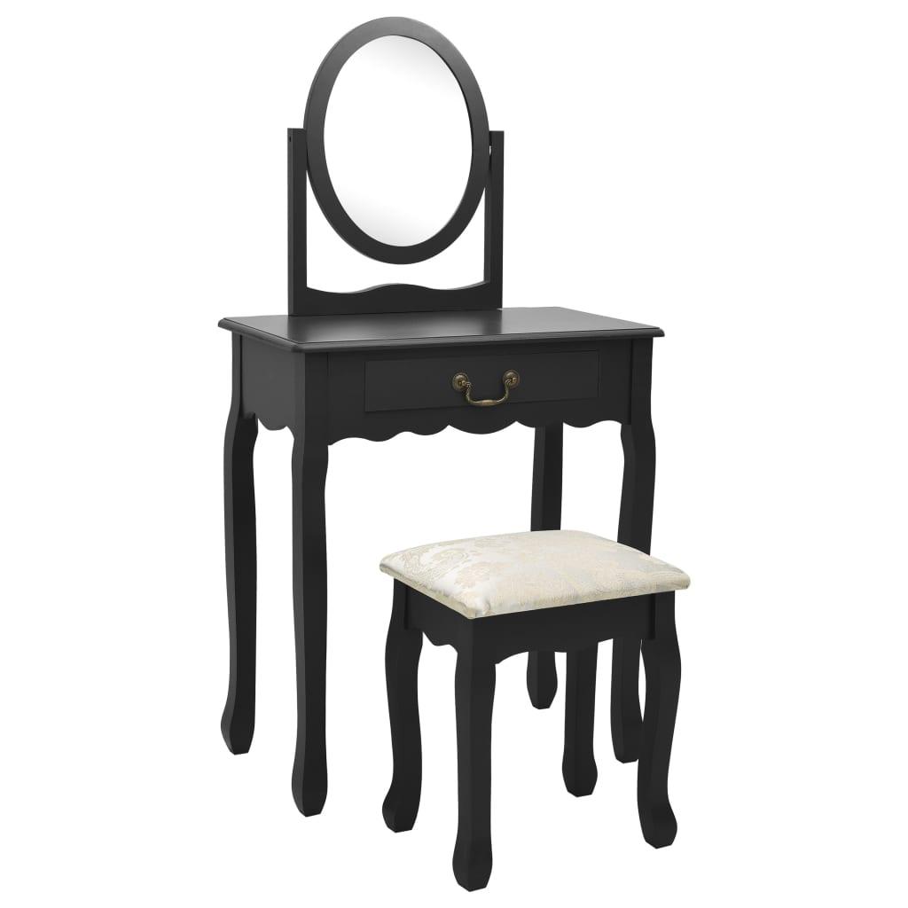 vidaXL Masă toaletă cu taburet negru 65x36x128 cm lemn paulownia MDF poza 2021 vidaXL