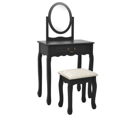 vidaXL Тоалетка с табуретка, черна, 65x36x128 см, пауловния, МДФ