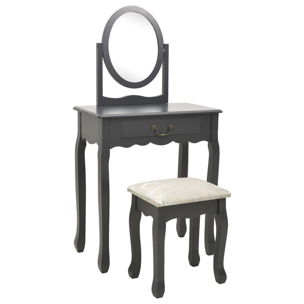 vidaXL Masă toaletă cu taburet, gri, 65x36x128 cm, lemn paulownia, MDF poza 2021 vidaXL