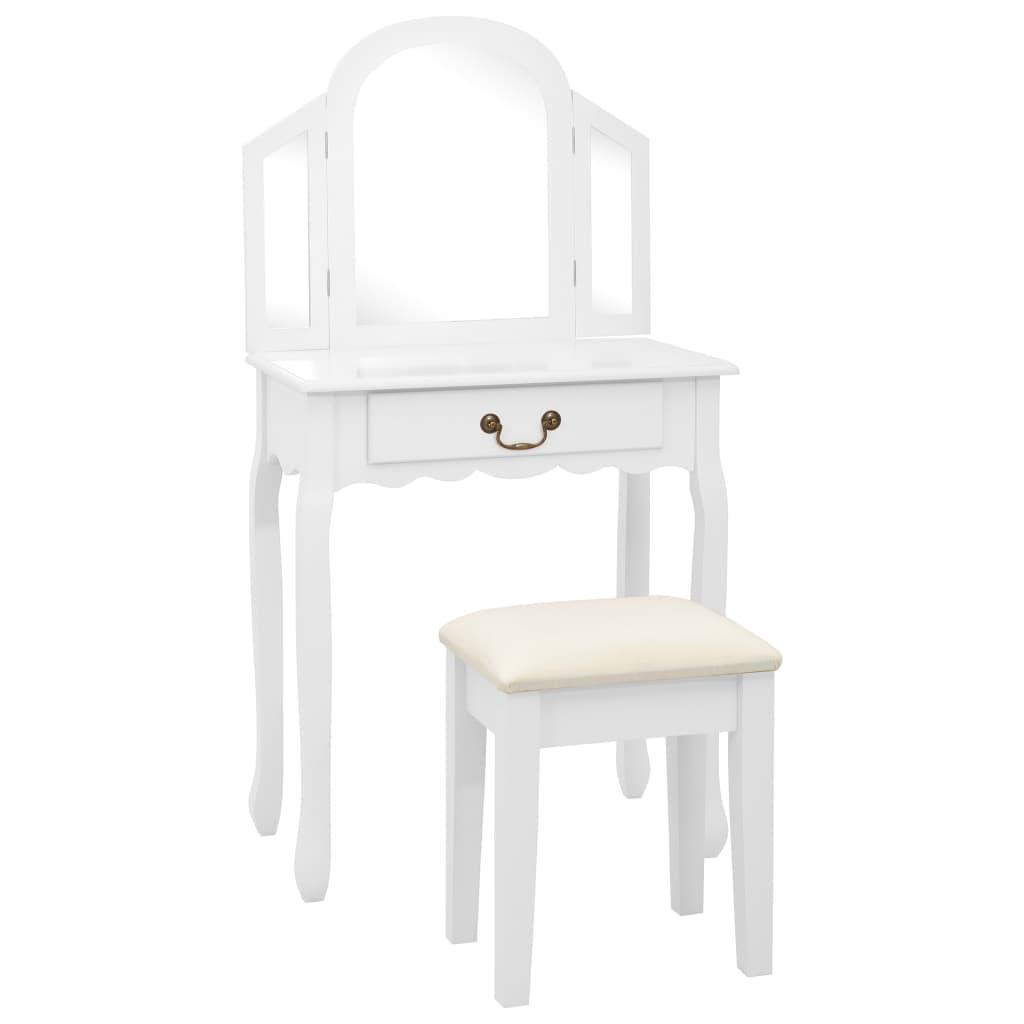 vidaXL Masă toaletă cu taburet, alb, 65x36x128 cm, lemn paulownia, MDF imagine vidaxl.ro