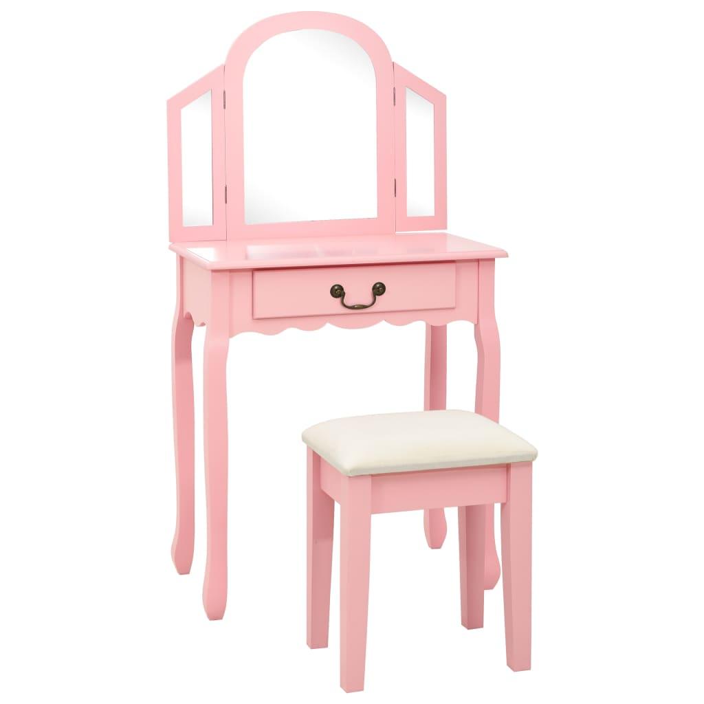 vidaXL Masă toaletă cu taburet, roz, 65x36x128 cm, lemn paulownia, MDF imagine vidaxl.ro
