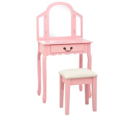 vidaXL Тоалетка с табуретка, розова, 65x36x128 см, пауловния, МДФ