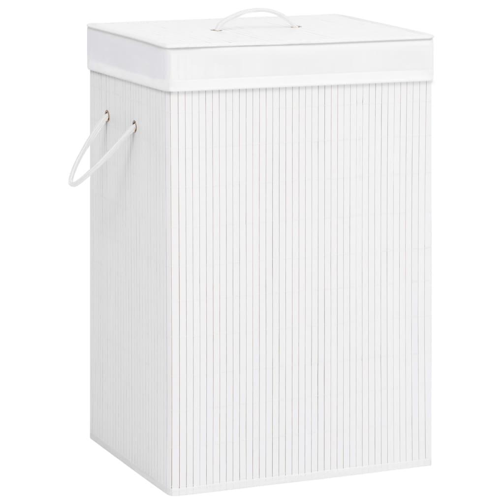 vidaXL Coș de rufe din bambus, alb, 72 L imagine vidaxl.ro